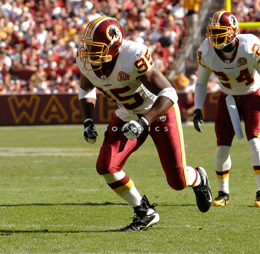 CHRIS WILSON, of the Washington Redskins in action during the Redskin game against the Arizona Cardinals on October 21, 2007 in Landover, Maryland...Redskins win 21-19..SportPics