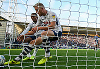 Preston North End's Jayden Stockley and Daniel Johnson rush to collect the ball after Tom Barkhuizen scored their first goal<br /> <br /> Photographer Alex Dodd/CameraSport<br /> <br /> The EFL Sky Bet Championship - Preston North End v Blackburn Rovers - Saturday 26th October 2019 - Deepdale Stadium - Preston<br /> <br /> World Copyright © 2019 CameraSport. All rights reserved. 43 Linden Ave. Countesthorpe. Leicester. England. LE8 5PG - Tel: +44 (0) 116 277 4147 - admin@camerasport.com - www.camerasport.com