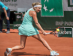 May 28, 2016:  Timea Bacsinszky (SUI) defeated Pauline Parmentier (FRA) 6-4, 6-2, at the Roland Garros being played at Stade Roland Garros in Paris, France .  ©Leslie Billman/Tennisclix/CSM