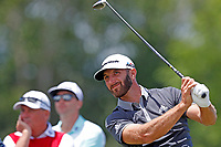 Dustin Johnson (USA) tees off on the 9th hole during the second round of the 118th U.S. Open Championship at Shinnecock Hills Golf Club in Southampton, NY, USA. 15th June 2018.<br /> Picture: Golffile | Brian Spurlock<br /> <br /> <br /> All photo usage must carry mandatory copyright credit (&copy; Golffile | Brian Spurlock)