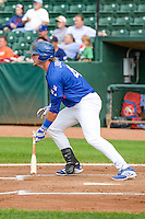 Matt Jones (40) of the Ogden Raptors at bat against the Idaho Falls Chukars in Pioneer League action at Lindquist Field on August 26, 2015 in Ogden, Utah. Ogden defeated the Chukars 5-1.  (Stephen Smith/Four Seam Images)
