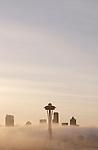 Seattle, Space Needle, fog at sunrise, Washington State, Pacific Northwest,