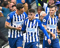 aron Connolly of Brighton and Hove Albion middle celebrates scoring the third and his second goal during Brighton & Hove Albion vs Tottenham Hotspur, Premier League Football at the American Express Community Stadium on 5th October 2019