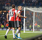 19.09.2019 Rangers v Feyenoord: Rick Karsdorp is pulled away by captain Eric Botteghin as he gestures to a section of the Feyenoord fans at full time