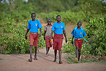 Students walk to the Loreto Primary School in Rumbek, South Sudan. While focused on educating girls from throughout the war-torn country, the school, run by the Institute for the Blessed Virgin Mary--the Loreto Sisters--of Ireland, also educates children from nearby communities.