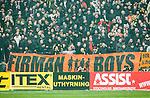 BETALBILD Solna 2015-03-07 Fotboll Allsvenskan AIK - Hammarby IF :  <br /> AIK:s supportrar med en banderoll med texten Firman Boys under matchen mellan AIK och Hammarby IF <br /> (Foto: Kenta J&ouml;nsson) Nyckelord:  AIK Gnaget Friends Arena Svenska Cupen Cup Derby Hammarby HIF Bajen supporter fans publik supporters Firman Boys huligan huliganer