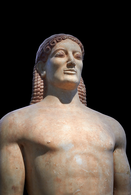 Parian Mable Ancient Greek Archaic statue of a kouros, found in Anavyssos, Attica, circa 530 BC, Athens National Archaeological Museum. Cat no 3851.  Against black<br /> <br /> The body of the statue is powerful and articulate with empahasised muscles. This was a funerary statue from the grave of Kroisos, as indicated bt the inscription on its base reading, 'stop and mourn at the grave of Kroiusos, whom raging Ares destroyed when he fought among the defenders'.