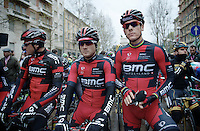 at the start: Greg Van Avermaet (BEL/BMC), Danilo Wyss (CHE/BMC) &amp; Philippe Gilbert (BEL/BMC)<br /> <br /> 2014 Milano - San Remo