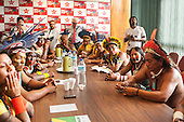 Pataxo, Xicrin and Kayapo indigenous leaders lobby Federal Deputies during an audience in Brasilia, Brazil, 10th November 2015. Photo © Sue Cunningham, pictures@scphotographic.com