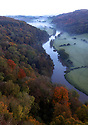 20/10/12  ..Looking north over Herefordshire as mist hangs in the Wye Valley at dawn this morning...Looking like a fairytale world, the autumn colours, in the Wye Valley viewed from Symonds Yat Rock, near Ross on Wye, are thought to be some of the most spectacular in Britain. The River Wye runs close to the Welsh border here as it crosses the English counties of Herefordshire and Gloucestershire...All Rights Reserved - F Stop Press.  www.fstoppress.com. Tel: +44 (0)1335 300098.Copyrighted Image. Fees charged will reflect previously agreed terms or space rates for individual publications, states or country.