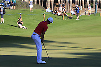 Haotong Li (CHN) putts onto the 18th green during Thursday's Round 1 of the 2018 Turkish Airlines Open hosted by Regnum Carya Golf &amp; Spa Resort, Antalya, Turkey. 1st November 2018.<br /> Picture: Eoin Clarke | Golffile<br /> <br /> <br /> All photos usage must carry mandatory copyright credit (&copy; Golffile | Eoin Clarke)