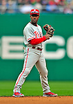 13 April 2009: Philadelphia Phillies' shortstop Jimmy Rollins in action during the Washington Nationals' Home Opener at Nationals Park in Washington, DC. The Nats fell short in their 9th inning rally, losing 9-8, as the visiting Phillies handed the Nats their 7th consecutive loss of the 2009 season. Mandatory Credit: Ed Wolfstein Photo