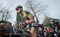 77th Flèche Wallonne 2013..Gilles Devilliers (BEL) leading the escape group on the 1st ascent up the Mur de Huy