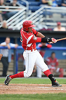 Batavia Muckdogs outfielder Kevin Grove (12) at bat during a game against the Auburn Doubledays on June 16, 2014 at Dwyer Stadium in Batavia, New York.  Batavia defeated Auburn 4-3.  (Mike Janes/Four Seam Images)