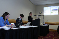 INDIANAPOLIS, IN - January 18, 2013: NWSL Executive Director Cheryl Bailey (right) during the draft. The National Women's Soccer League held its college draft at the Indiana Convention Center in Indianapolis, Indiana during the NSCAA Annual Convention.