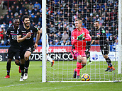 17th March 2018, The John Smiths Stadium, Huddersfield, England; EPL Premier League football, Huddersfield Town versus Crystal Palace; James Tomkins runs to celebrate scoring in the 23rd minute beating Jonas Lossl of Huddersfield Town hes chased by Christian Benteke of Crystal Palace