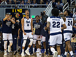 The Nevada bench reacts after a big shot against Utah State                 in the second half of an NCAA college basketball game in Reno, Nev., Wednesday, Jan. 2, 2019. (AP Photo/Tom R. Smedes)