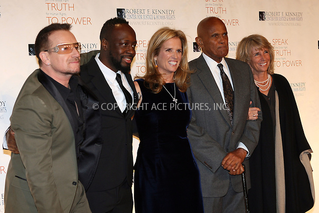 WWW.ACEPIXS.COM . . . . .  ....November 18 2009, New York City....Musicians Bono and Wyclef Jean and Kerry Kennedy at the 2009 Robert F. Kennedy Center Ripple of Hope Awards dinner at Pier Sixty at Chelsea Piers on November 18, 2009 in New York City.....Please byline: NANCY RIVERA- ACEPIXS.COM.... *** ***..Ace Pictures, Inc:  ..Tel: 646 769 0430..e-mail: info@acepixs.com..web: http://www.acepixs.com