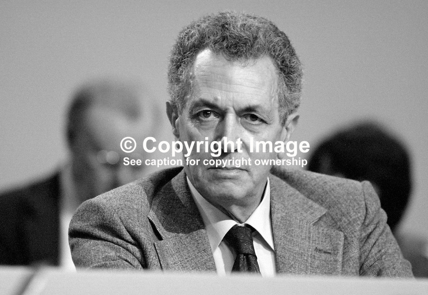 Sir Keith Joseph, MP, Conservative Party, UK, Secretary of State for Education &amp; Science, 19840144KJ3.<br /> <br /> Copyright Image from Victor Patterson, 54 Dorchester Park, Belfast, UK, BT9 6RJ<br /> <br /> t1: +44 28 9066 1296 (from Rep of Ireland 048 9066 1296)<br /> t2: +44 28 9002 2446 (from Rep of Ireland 048 9002 2446)<br /> m: +44 7802 353836<br /> <br /> e1: victorpatterson@me.com<br /> e2: victorpatterson@gmail.com<br /> <br /> The use of my copyright images is subject to my Terms &amp; Conditions.<br /> <br /> It is IMPORTANT that you familiarise yourself with them. They are available on my website at www.victorpatterson.com.<br /> <br /> None of my copyright images may be used on a website unless they are visibly watermarked, i.e. &copy; Victor Patterson within the body of the visible image. Metadata denoting my copyright must NOT be deleted. <br /> <br /> Web use is extra at currently recommended NUJ rates.