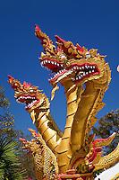 Trio of dragon heads, Wat Phra That Doi Suthep Rajvoravihara, Chiang Mai, Thailand