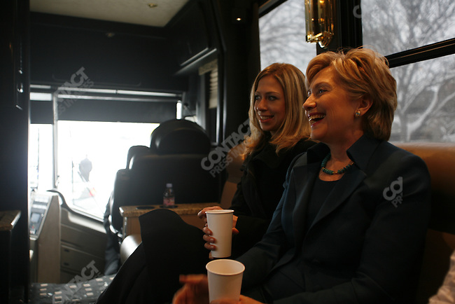 Hillary Clinton for President campaign in New Hampshire before the New Hampshire Primary in January 2008. Hillary , Chelsea, and Dorothy Rodham, onboard the campaign bus. Manchester, NH.December 22, 2007