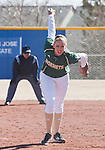 March 7, 2012:   Sacramento State Hornets pitcher Shelby Voelz throws against the Nevada Wolf Pack during their NCAA softball game played at Christina M. Hixson Softball Park on Wednesday in Reno, Nevada.