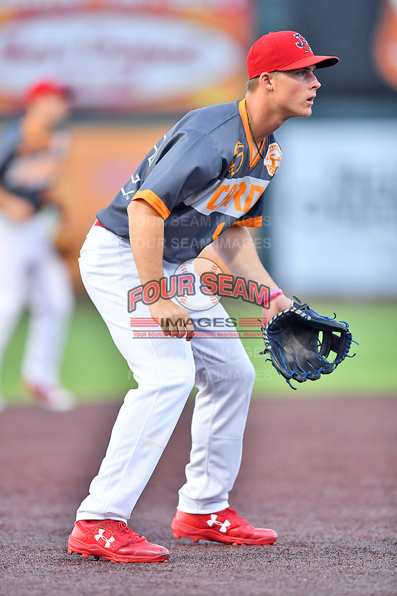 Johnson City Cardinals third baseman Nolan Gorman (4) during a game against the Pulaski Yankees at TVA Credit Union Ballpark on July 7, 2018 in Johnson City, Tennessee. The Cardinals defeated the Yankees 7-3. (Tony Farlow/Four Seam Images)