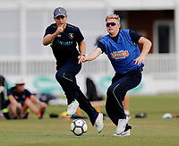 Sean Dickson and Sam Billings warm up during the County Championship Division 2 game between Kent and Leicestershire at the St Lawrence ground, Canterbury, on Sun July 22, 2018