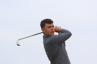 Jacob Davies (WAL) on the 1st tee during Round 1of the Flogas Irish Amateur Open Championship 2019 at the Co.Sligo Golf Club, Rosses Point, Sligo, Ireland. 16/05/19<br /> <br /> Picture: Thos Caffrey / Golffile<br /> <br /> All photos usage must carry mandatory copyright credit (© Golffile | Thos Caffrey)