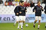 04 June 2008: Carlos Bocanegra (USA) (3) and Eddie Lewis (USA) (11) share a pregame smile. The Spain Men's National Team defeated the United States Men's National Team 1-0 at Estadio Municipal El Sardinero in Santander, Spain in an international friendly soccer match.