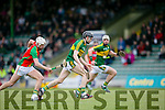 Carlow's Jack Kavanagh gives chase to kerry's Colum Harty in the  Leinster Championship Round  Robin Group Kerry v Carlow at Austin Stack Park on Sunday