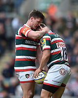 Freddie Burns of Leicester Tigers congratulates team-mate Jack Roberts on his second half try. Aviva Premiership match, between Leicester Tigers and Sale Sharks on April 29, 2017 at Welford Road in Leicester, England. Photo by: Patrick Khachfe / JMP