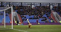 Bristol Rovers' goalkeeper Adam Smith sees a shot goes pass his post during the Sky Bet League 1 match between Oldham Athletic and Bristol Rovers at Boundary Park, Oldham, England on 30 December 2017. Photo by Juel Miah / PRiME Media Images.