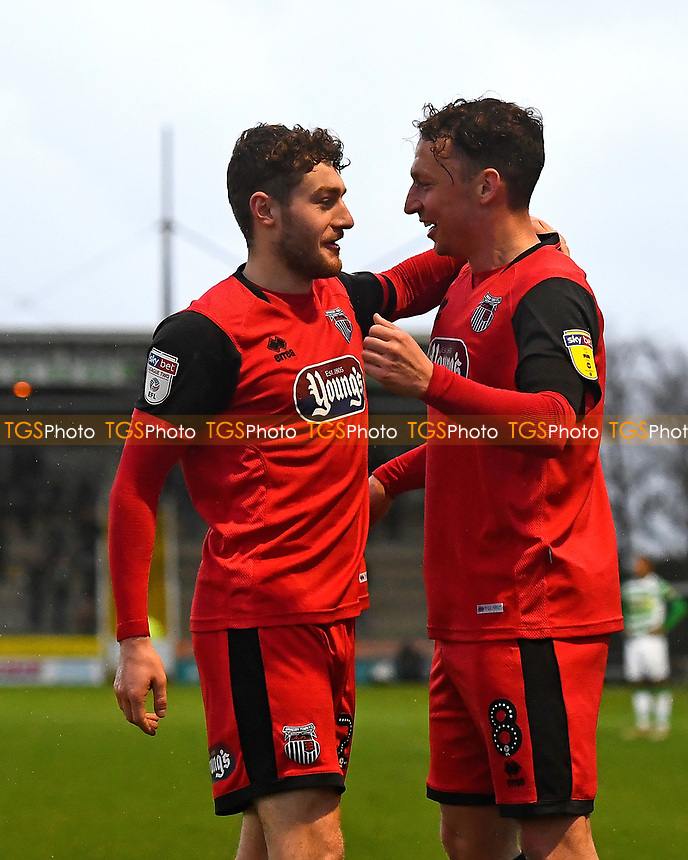 Kristian Dennis of Grimsby Town right  celebrates scoring the third goal with Elliot Embleton of Grimsby Townduring  during Yeovil Town vs Grimsby Town, Sky Bet EFL League 2 Football at Huish Park on 9th February 2019