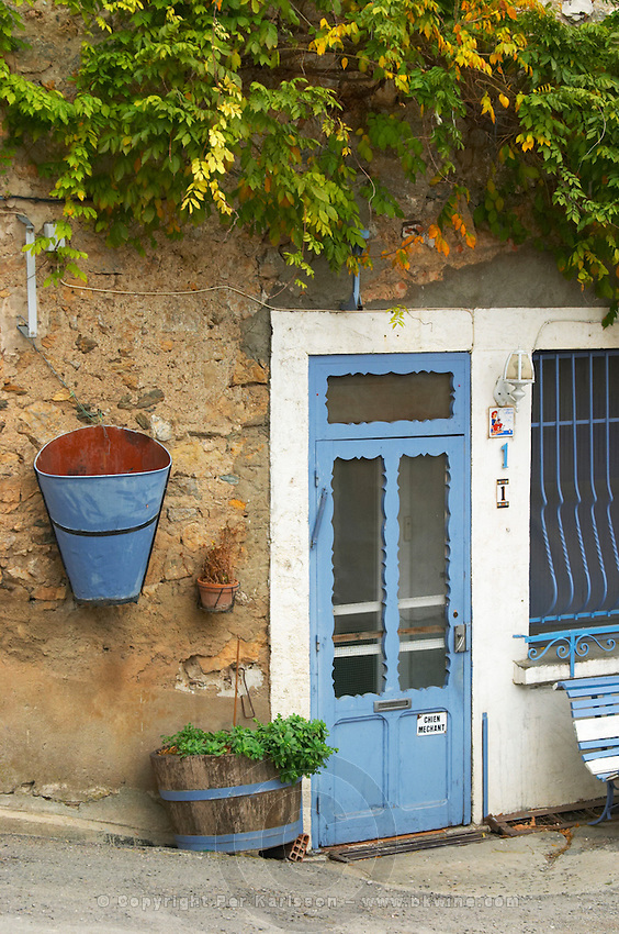 Embres et Castelmaure Cave Cooperative co-operative. Les Corbieres. Languedoc. A door. France. Europe.