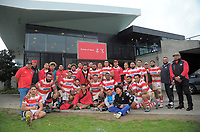 The Papatoetoe team poses for a group photo after the Auckland Premier club rugby match between Papatoetoe and College Rifles at Papatoetoe Rugby Club in Auckland, New Zealand on Friday, 28 April 2018. Photo: Dave Lintott / lintottphoto.co.nz