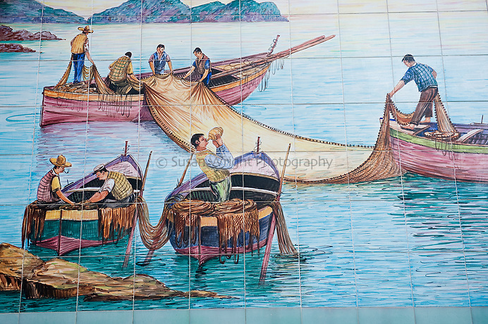 Ceramic mural of fisherman at sea on the Amalfi Coast, Italy