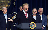 United States President Donald J. Trump makes remarks to the media at Camp David, the presidential retreat near Thurmont, Maryland after holding meetings with staff, members of his Cabinet and Republican members of Congress to discuss the Republican legislative agenda for 2018 on January 6, 2018.  Pictured from left to right: US Vice President Mike Pence; US House Majority Leader Kevin McCarthy (Republican of California); President Trump; US House Majority Whip Steve Scalise (Republican of Louisiana); US Secretary of State Rex Tillerson.<br /> Credit: Chris Kleponis / Pool via CNP