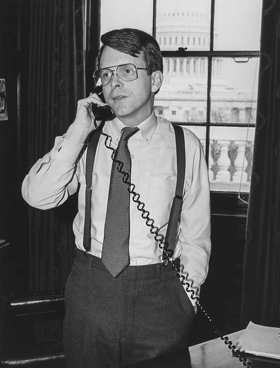 Rep. Mike DeWine, R-Ohio, talking on phone in 1989. (Photo by CQ Roll Call via Getty Images)
