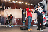 USA Olympic Boxing Team members Marlen Esparza, Rau'shee Warren, and Marcus Browne participate in the Road to London 100 Days Out Celebration in Times Square in New York City, New York, USA on Wednesday, April 18, 2012.  Times Square was transformed into an Olympic Village for the event.