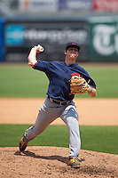 Pitcher Sawyer Bridges (38) of Summerville High School in Summerville, South Carolina playing for the Cleveland Indians scout team during the East Coast Pro Showcase on July 30, 2015 at George M. Steinbrenner Field in Tampa, Florida.  (Mike Janes/Four Seam Images)