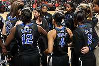 Duke head coach Joanne P. McCallie talks with her team during an NCAA college basketball game in Charlottesville, Va. Duke defeated Virginia 62-41...