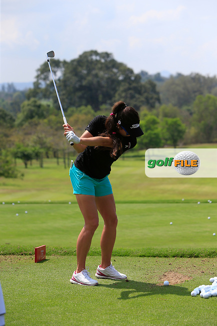 Gerina Piller (USA) on the driving range during the Tuesday Practice Day of the Honda LPGA at the Siam Country Club Old Course in Pattaya on Tuesday 24th February 2015.<br /> Picture:  Thos Caffrey / www.golffile.ie