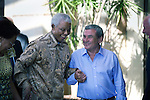 CAPE TOWN, SOUTH AFRICA – APRIL 2: Former President Nelson Mandela of South Africa is welcomed by Sol Kerzner on April 2, 2009 at the One&Only hotel in Cape Town, South Africa. Mr. Kerzner, a hotel magnate, invited Mr. Mandela to the opening of his latest hotel located at the V&A Waterfront in the city. (Photo by Per-Anders Pettersson)