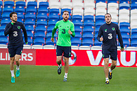Harry Arter, Daryl Murphy and John O'Shea during Republic of Ireland training ahead of the World Cup Qualification match against Wales at Cardiff City Stadium, Cardiff, Wales on 8 October 2017. Photo by Mark  Hawkins.