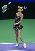 Agnieszka Radwanska of Poland in action in the BNP Paribas WTA Finals