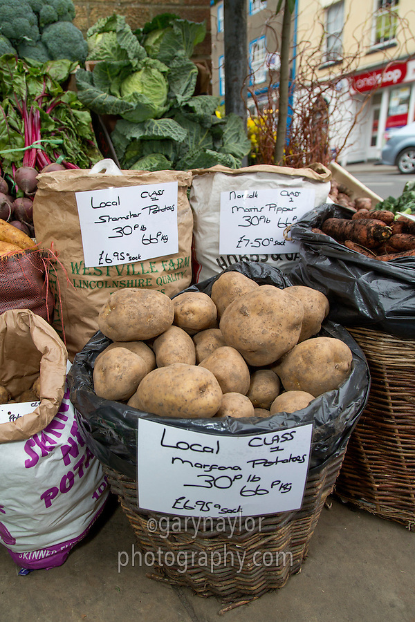 Fresh vegetables on display for sale at Green Grocers - Lincolnshire, February