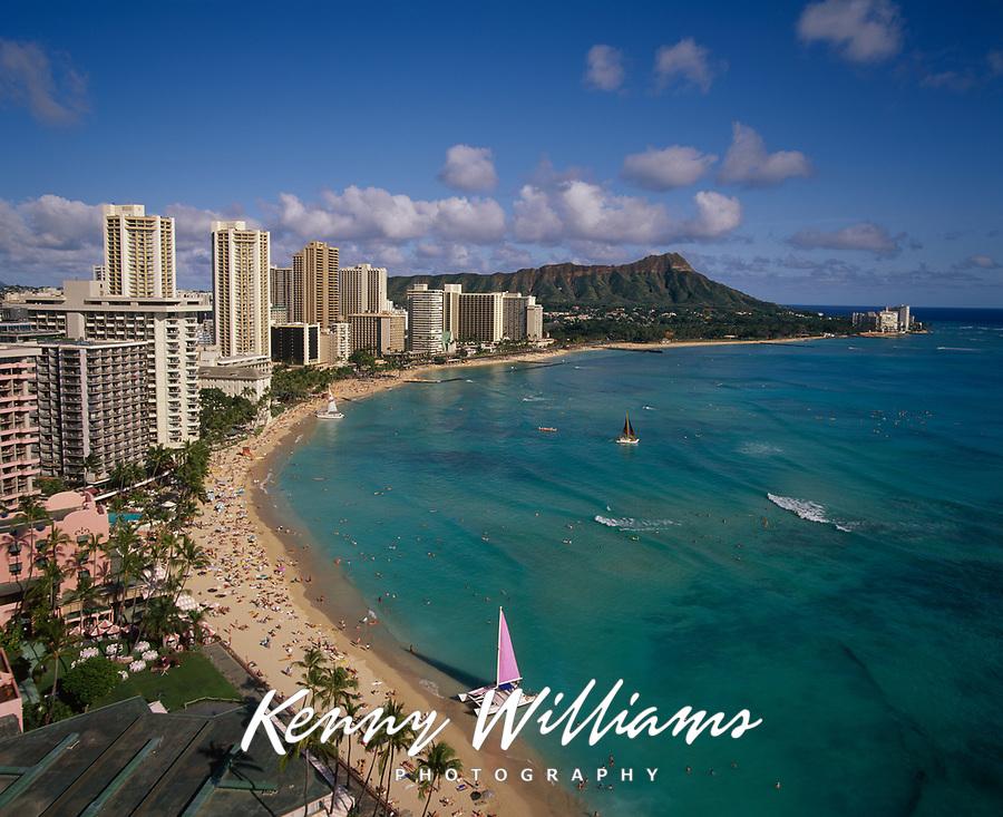 Waikiki Beach, Honolulu, Oahu, Hawaii, USA.