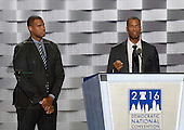 Jason Collins, left, and Jared Collins, right, make remarks at the 2016 Democratic National Convention at the Wells Fargo Center in Philadelphia, Pennsylvania on Monday, July 25, 2016.<br /> Credit: Ron Sachs / CNP<br /> (RESTRICTION: NO New York or New Jersey Newspapers or newspapers within a 75 mile radius of New York City)