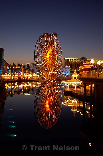 Lit up Ferris Wheel and rides at dusk at the California theme park. 10/07/2001, 7:59:03 PM<br />